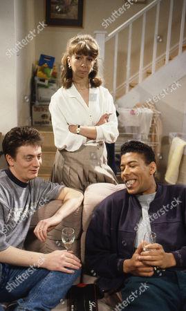 Stock Photo of Sean Wilson (as Martin Platt), Helen Worth (as Gail Platt) and Jason Yates (as Tony Stephenson)