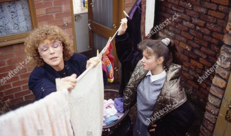 Anne Kirkbride (as Deirdre Barlow) and Dawn Acton (as Tracy Barlow
