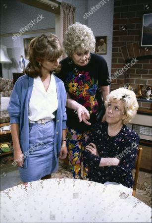 Helen Worth (as Gail Platt), Elizabeth Dawn (as Vera Duckworth) and Lynne Perrie (as Ivy Brennan)