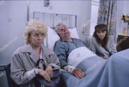 Lynne Perrie (as Ivy Brennan), Geoff Hinsliff (as Don Brennan) and Sue Elliot (as Julie Dewhurst)