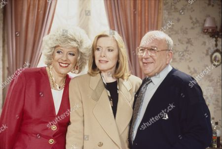 Stock Image of Julie Goodyear (as Bet Gilroy), Christina Greatrex (as Cherie Watkins) and Roy Barraclough (as Alec Gilroy)