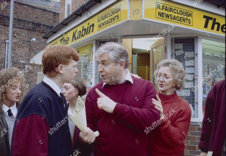 Richard Redpath (as Nigel Chadwick), Peter Baldwin (as Derek Wilton) and Thelma Barlow (as Mavis Wilton)