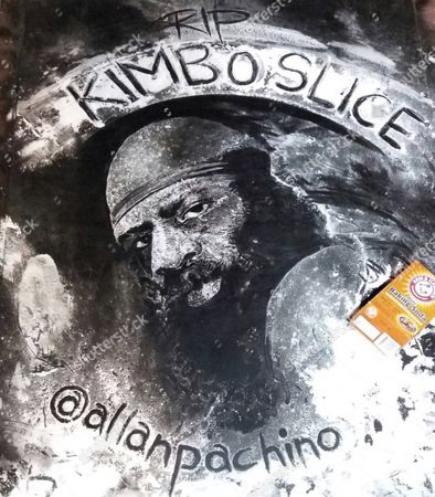Stock Picture of Allan's portrait of Kimbo Slice made from baking soda