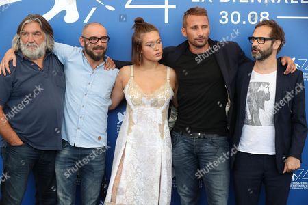 Stock Picture of Pierre-Ange Le Pogam, Michael R. Roskam, Adele Exarchopoulos, Matthias Schoenaerts and Bart Van Langendonck