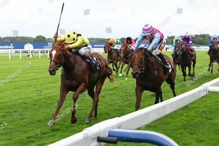 CAPE BYRON (left) ridden by Andrea Atzeni beating Fire Brigade in The Leo Bancroft Signature Hair Care Classified Stakes at Ascot