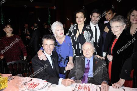 (L-R) Jack Lang, Line Renaud, Pierre Berge and Daniela Lumbroso