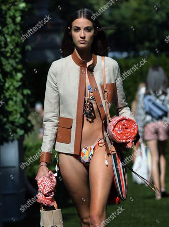 French model Camille Hurel presents a creation by US designer Tory Burch at New York Fashion Week Spring 2018 in New York, New York, USA, 08 September 2017. The Spring 2018 collections are being presented from 07 to 13 September.