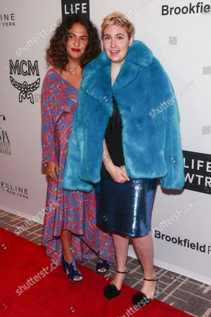 Jennifer Konner, Lena Dunham. Jennifer Konner, left, and Lena Dunham, right, attend the NYFW Spring/Summer 2018 5th Annual Fashion Media Awards at the Four Seasons Hotel Downtown, in New York