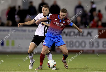 Dundalk vs Drogheda United. Dundalk's Brian Gartland with Stephen Elliott of Drogheda