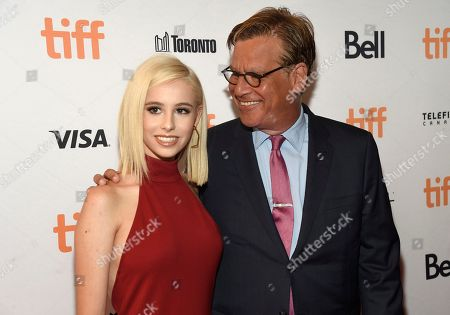 """Roxy Sorkin, Aaron Sorkin. Aaron Sorkin, right, and his daughter Roxy Sorkin attend a premiere for """"Molly's Game"""" on day 2 of the Toronto International Film Festival at the Elgin Theatre, in Toronto"""