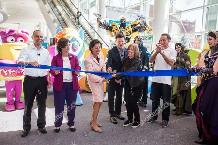 From left to right: Providence Mayor Jorge O. Elorza, Rhode Island Secretary of State Nellie M. Gorbea, Rhode Island Governor Gina M. Raimondo, Hasbro Chairman and CEO Brian Goldner, Hasbro Chief Financial Officer Deborah Thomas and Hasbro President John Frascotti participate in a ribbon cutting ceremony to celebrate the opening of HASCON, the first-ever FANmily? event from Hasbro, Inc., on in Providence, R.I