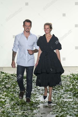 Kris Brock and Laura Vassar on the catwalk