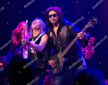 Stock Image of Phil Shouse, Gene Simmons. Phil Shouse, left, and Gene Simmons perform in concert with The Gene Simmons Band at The American Music Theatre, in Lancaster, Pa