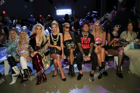 Sam Beckerman, Cailli Beckerman, Erika Jayne, Nicky Hilton Rothschild, Paris Hilton, Federico Lucia, Chiara Ferragni, Sita Abellan. Sam Beckerman, from left, Cailli Beckerman, Erika Jayne, Nicky Hilton Rothschild, Paris Hilton, Federico Lucia, Chiara Ferragni and Sita Abellan attend the Jeremy Scott 2018 Spring/Summer Presentation, in New York