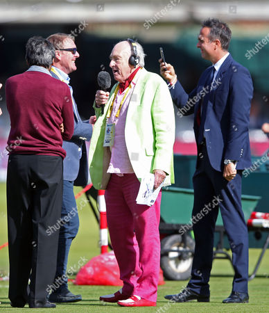 Henry Blofeld doing an on-field interview at Lord's with Phil Tuffnell & Michael Vaughan (behind)