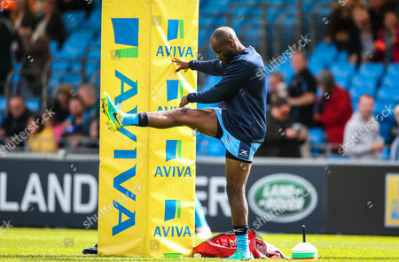 Topsy Ojo of London Irish warming up during the Aviva Premiership match between Exeter Chiefs and London Irish at Sandy Park on September 9th 2017 , Exeter, Devon (