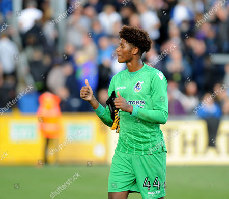 Alexis Andre-Jr of Bristol Rovers made his debut when coming on for Sam Slocombe  , celebrates the win over Walsall- Mandatory by-line: Neil Brookman/JMP