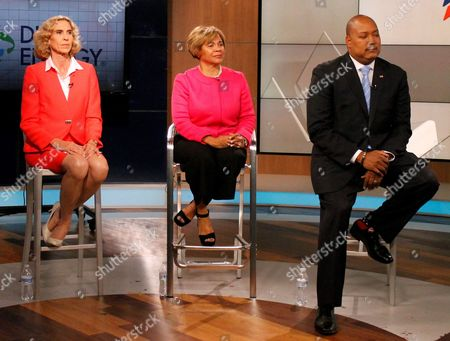 Stock Image of Charlotte Mayor Jennifer Roberts, Mayor Pro Tem Vi Lyles and State Senator Joel Ford, listen to a moderator during a televised debate on Wednesday, Set. 6, 2017. The three Democrats are contending for the party nomination for mayor in a primary scheduled for Tuesday, Sept. 12