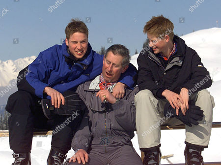 Prince Charles Prince William And Prince Harry In Klosters Switzerland On A Skiing Holiday. The Photocall Shows How Tall The Young Prince's Are Against Their Dad 2000
