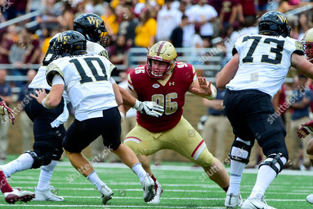 Chestnut Hill, Massachusetts, U.S. - Boston College Eagles defensive tackle Ray Smith (96) in game action during the NCAA division 1 football game between the Wake Forest Demon Deacons and the Boston College Eagles held at Alumni Stadium in Chestnut Hill, Massachusetts. Wake Forest defeats Boston College 34-10