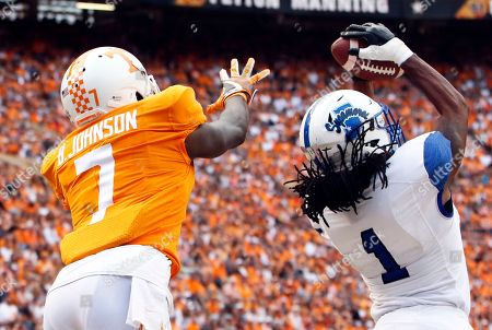 Rondell Green, Rashaan Gaulden. Indiana State cornerback Rondell Green (1) intercepts a pass intended for Tennessee wide receiver Brandon Johnson (7) during the second half of an NCAA college football game, in Knoxville, Tenn. Tennessee won 42-7