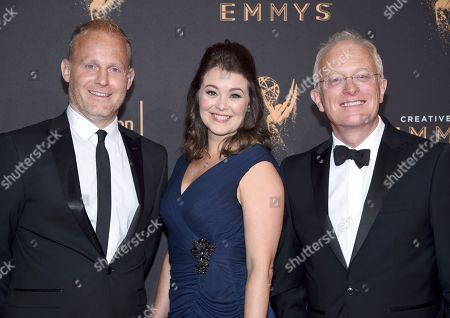 Tom Hugh-Jones, Mike Gunton. Tom Hugh-Jones, from left, Elizabeth White, and Mike Gunton arrive at night one of the Television Academy's 2017 Creative Arts Emmy Awards at the Microsoft Theater, in Los Angeles
