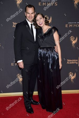 Kristen Schaal, Rich Blomquist. Kristen Schaal, right, and Rich Blomquist arrives at night one of the Television Academy's 2017 Creative Arts Emmy Awards at the Microsoft Theater, in Los Angeles