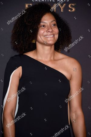 Kira Kelly arrives at night one of the Television Academy's 2017 Creative Arts Emmy Awards at the Microsoft Theater, in Los Angeles
