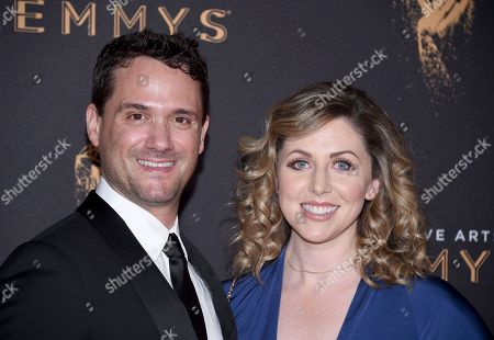 Spencer Averick, left, and arrive at night one of the Television Academy's 2017 Creative Arts Emmy Awards at the Microsoft Theater, in Los Angeles