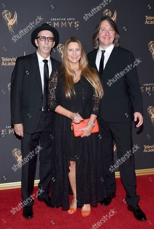 Duke Erickson, Allison McGourty, Bernard Macmahon. Duke Erickson, from left, Allison McGourty, and Bernard Macmahon arrive at night one of the Television Academy's 2017 Creative Arts Emmy Awards at the Microsoft Theater, in Los Angeles