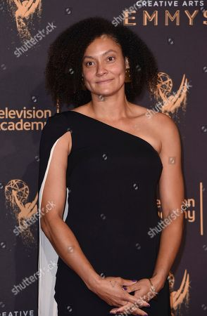 Kira Kelly arrives at night one of the Creative Arts Emmy Awards at the Microsoft Theater, in Los Angeles