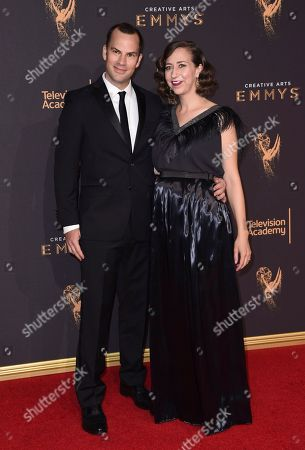 Rich Blomquist, Kristen Schaal. Rich Blomquist, left, and Kristen Schaal arrive at night one of the Creative Arts Emmy Awards at the Microsoft Theater, in Los Angeles