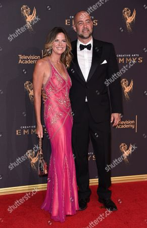 Mo Collins, Alex Skuby. Mo Collins, left, and Alex Skuby arrive at night one of the Creative Arts Emmy Awards at the Microsoft Theater, in Los Angeles