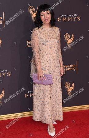 Sarah Barnett arrives at night one of the Creative Arts Emmy Awards at the Microsoft Theater, in Los Angeles