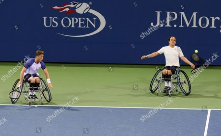 Gordon Reid and Alfie Hewett of Great Britain in action in the wheelchair doubles final of the US Open