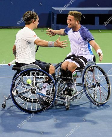 Gordon Reid and Alfie Hewett of Great Britain celebrate in the wheelchair doubles final of the US Open