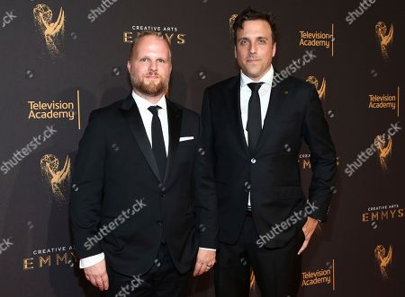 Rod Blackhurst, Brian McGinn. Rod Blackhurst, left, and Brian McGinn arrive at night one of the Television Academy's 2017 Creative Arts Emmy Awards at the Microsoft Theater, in Los Angeles