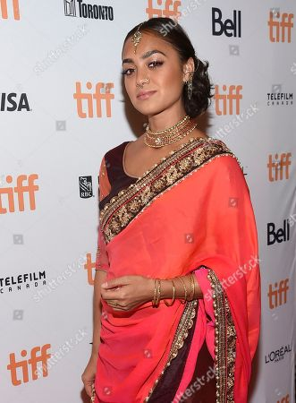 """Shazi Raja attends a premiere for """"Brad's Status"""" on day 3 of the Toronto International Film Festival at the Winter Garden Theatre, in Toronto"""