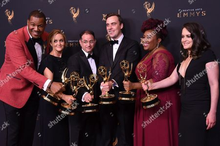 Travon Free, Samantha Bee, Eric Drysdale, Pat Cassels, Ashley Nicole Black, and Melinda Taub. Travon Free, from left, Samantha Bee, Eric Drysdale, Pat Cassels, Ashley Nicole Black, and Melinda Taub pose in the press room with the award for Outstanding Writing for a Variety Special during night one of the Creative Arts Emmy Awards at the Microsoft Theater, in Los Angeles