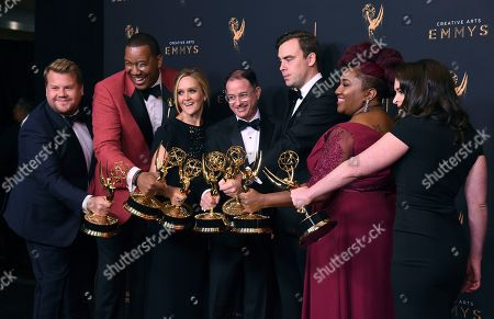 James Corden, Travon Free, Samantha Bee, Eric Drysdale, Pat Cassels, Ashley Nicole Black, and Melinda Taub. James Corden, from left, Travon Free, Samantha Bee, Eric Drysdale, Pat Cassels, Ashley Nicole Black, and Melinda Taub pose in the press room with the award for Outstanding Writing for a Variety Special during night one of the Creative Arts Emmy Awards at the Microsoft Theater, in Los Angeles