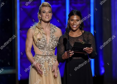 Jessie Graff, Meagan Martin. Jessie Graff, left, and Meagan Martin appear during night one of the Television Academy's 2017 Creative Arts Emmy Awards at the Microsoft Theater, in Los Angeles
