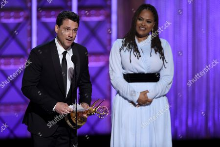 Spencer Averick, Ava DuVernay. Spencer Averick, left, and Ava DuVernay accept the award for outstanding writing for a nonfiction program during night one of the Television Academy's 2017 Creative Arts Emmy Awards at the Microsoft Theater, in Los Angeles