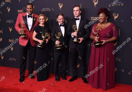 Travon Free, Samantha Bee, Eric Drysdale, Pat Cassels, Ashley Nicole Black. Travon Free, from left, Samantha Bee, Eric Drysdale, Pat Cassels, and Ashley Nicole Black pose in the press room with the award for Outstanding Writing for a Variety Special during night one of the Creative Arts Emmy Awards at the Microsoft Theater, in Los Angeles
