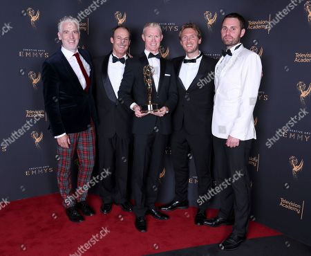 Gordon Buchanan, Tom Fitz, Mateo Willis, Max Hug Williams, Rob Whitworth. Gordon Buchanan, from left, Tom Fitz, Mateo Willis, Max Hug Williams, and Rob Whitworth pose for a portrait with the award for outstanding cinematography for a nonfiction program for 'Planet Earth II' during night one of the Television Academy's 2017 Creative Arts Emmy Awards at the Microsoft Theater, in Los Angeles