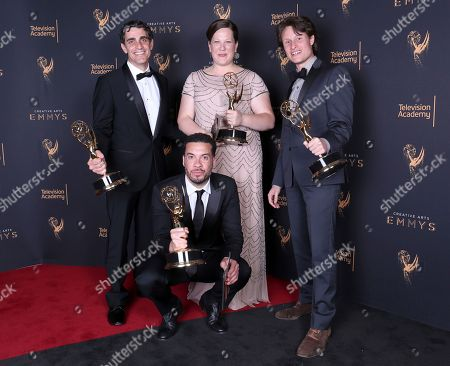 Bret Granato, Maya Mumma, Ben Sozanski, Ezra Edelman. Bret Granato, from left, Maya Mumma, Ben Sozanski, and Ezra Edelman pose for a portrait with the award for outstanding picture editing for a nonfiction program for 'O.J. Made in America' during night one of the Television Academy's 2017 Creative Arts Emmy Awards at the Microsoft Theater, in Los Angeles