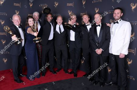Michael Gunston, Elizabeth White, Gordon Buchanan, Fredi DeVas, Tom Hough-Jones, Mateo Willis, Max Hug Williams, Tom Fitz, Rob Whitworth. Michael Gunston, from left, Elizabeth White, Gordon Buchanan, Fredi DeVas, Tom Hough-Jones, Mateo Willis, Max Hug Williams, Tom Fitz, and Rob Whitworth pose for a portrait with the award for outstanding documentary or nonfiction series for 'Planet Earth II' during night one of the Television Academy's 2017 Creative Arts Emmy Awards at the Microsoft Theater, in Los Angeles