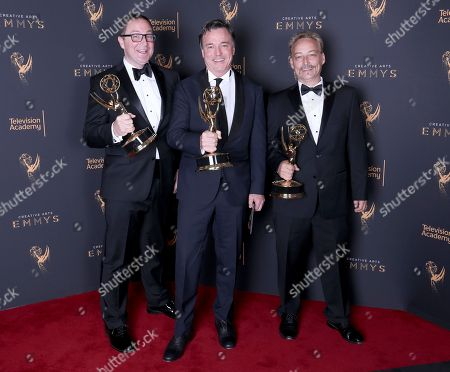 Joe Celli, Derek McLane, Jason Howard. Joe Celli, from left, Derek McLane, and Jason Howard pose for a portrait with the award for outstanding production design for a variety nonfiction, event or award special for 'Hairspray Live!' during night one of the Television Academy's 2017 Creative Arts Emmy Awards at the Microsoft Theater, in Los Angeles