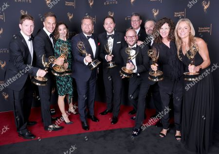 Stock Picture of Glenn Clements, James Longman, Josie Cliff, James Corden, Rob Crabbe, Jeff Kopp, Tim Mancinelli, Sheila Rogers, Michael Kaplan, Diana Miller. Glenn Clements, from left, James Longman, Josie Cliff, James Corden, Rob Crabbe, Jeff Kopp, Tim Mancinelli, Sheila Rogers, Michael Kaplan, and Diana Miller pose for a portrait with the award for Outstanding Variety Special for 'Carpool Karaoke Primetime Special 2017' during night one of the Television Academy's 2017 Creative Arts Emmy Awards at the Microsoft Theater, in Los Angeles