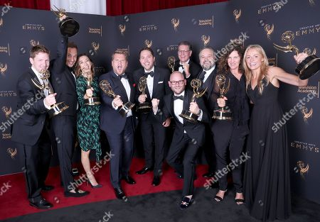 Glenn Clements, James Longman, Josie Cliff, James Corden, Rob Crabbe, Jeff Kopp, Tim Mancinelli, Sheila Rogers, Michael Kaplan, Diana Miller. Glenn Clements, from left, James Longman, Josie Cliff, James Corden, Rob Crabbe, Jeff Kopp, Tim Mancinelli, Sheila Rogers, Michael Kaplan, and Diana Miller pose for a portrait with the award for Outstanding Variety Special for 'Carpool Karaoke Primetime Special 2017' during night one of the Television Academy's 2017 Creative Arts Emmy Awards at the Microsoft Theater, in Los Angeles
