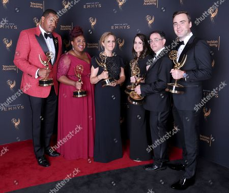 Travon Free, Ashley Nicole Black, Samantha Bee, Melinda Taub, Eric Drysdale, Pat Cassels. Travon Free, from left, Ashley Nicole Black, Samantha Bee, Melinda Taub, Eric Drysdale, and Pat Cassels pose for a portrait with the award for Outstanding Writing for a Variety Special for 'Full Frontal With Samantha Bee Presents Not The White House Correspondents' during night one of the Television Academy's 2017 Creative Arts Emmy Awards at the Microsoft Theater, in Los Angeles